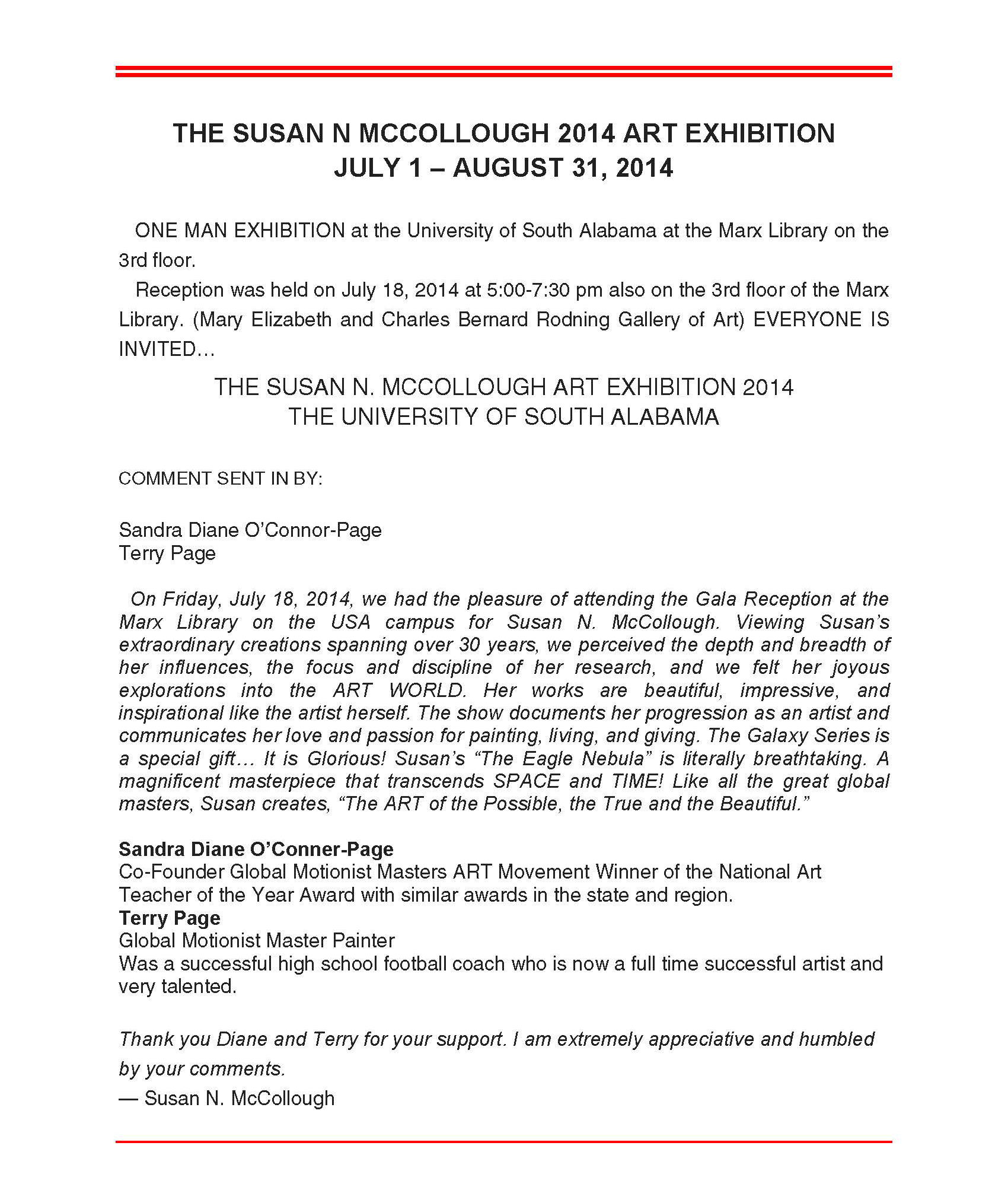 SUSAN N. MCCOLLOUGH - EXHIBITIONS